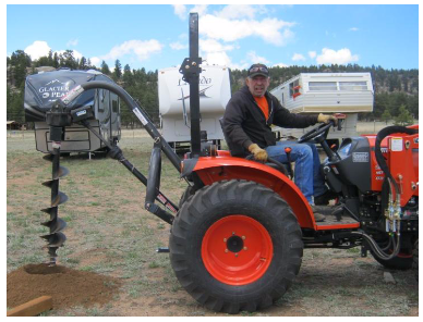 """CK3410 Compact Tractor, Front Loader and 3pt Auger / 9"""" Bit"""
